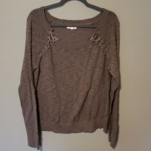 Lace Up Sweater L